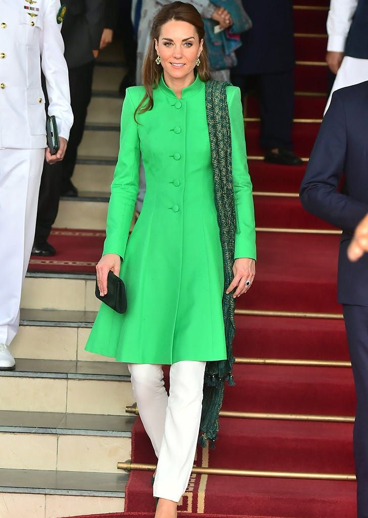 Kate Middleton Wore Not 1 But 2 New Daytime Looks On Her Pakistan Tour Purewow News Entertainme Prince William And Kate Kate Middleton Kate Middleton Style