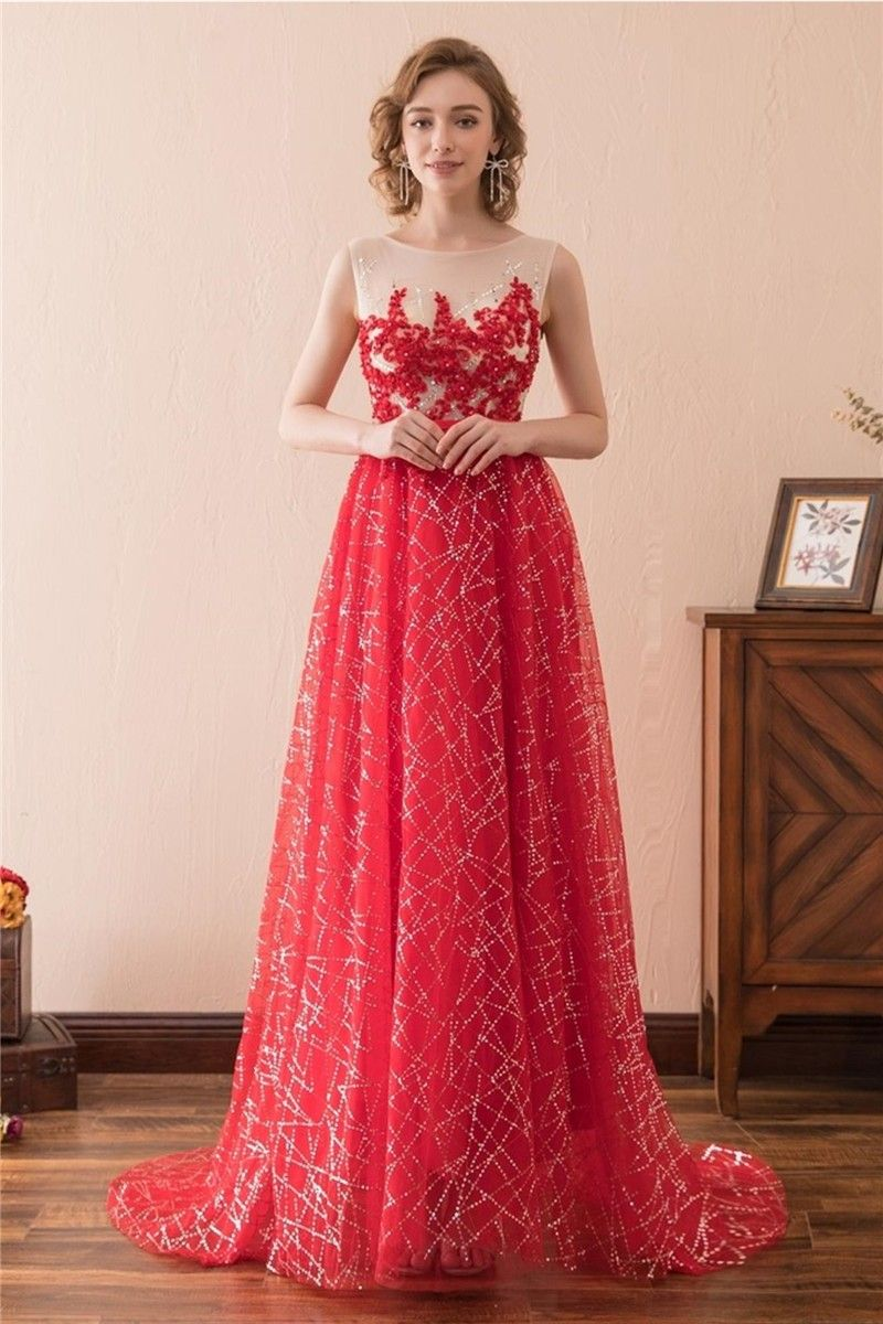 A Line Sleeveless Red Tulle Embroidery Sequin Shining Prom Dress ...