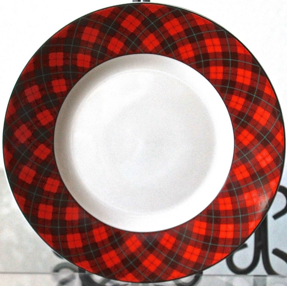 222 FIFTH CHRISTMAS PLAID DINNER PLATE 10 3/4TH RED BLACK GREEN NEW PORCELAIN  sc 1 st  Pinterest & 222 fifth christmas plaid dinner plate 10 3/4th red black green new ...