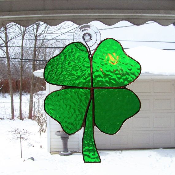 Four Leaf Clover St. Patricks Day Stained by BayshoreStainedGlass