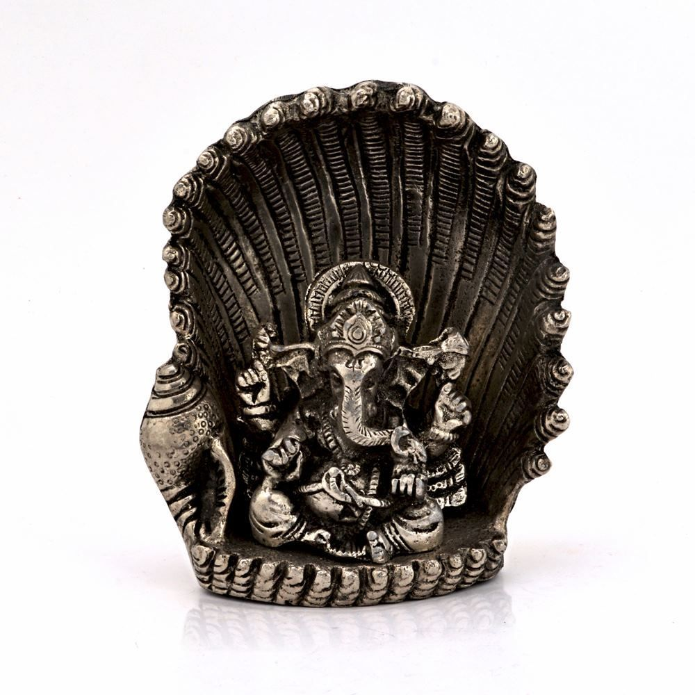 Spiritual Handicraft White Metal Antique Lord Ganesha On Naag
