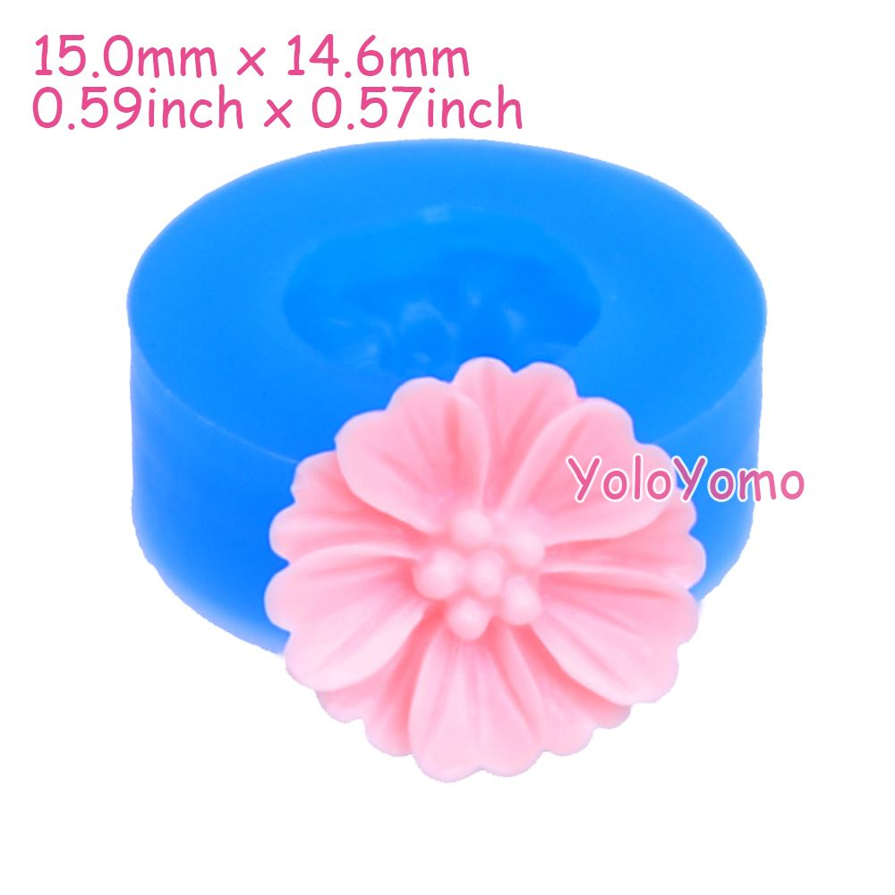 Goedkope H005yl 15mm Flower Silicone Push Mold Cupcake Topper