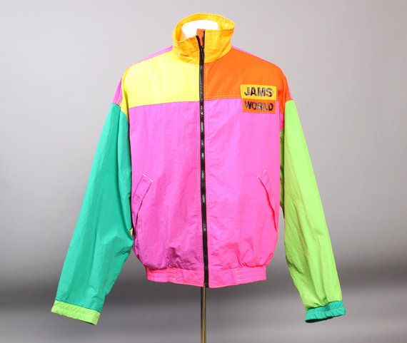 1980s JAMS WORLD JACKET / Neon Colorblock Logo Windbreaker | 1980s ...