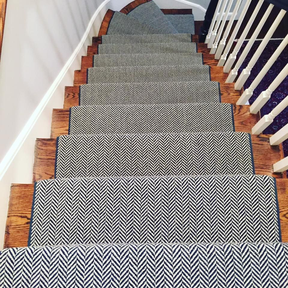 Check Out This Stair Runner That We Recently Installed Herringbone Continues To Be One Of Our Most Popular S Stair Runner Carpet Staircase Runner Stair Runner