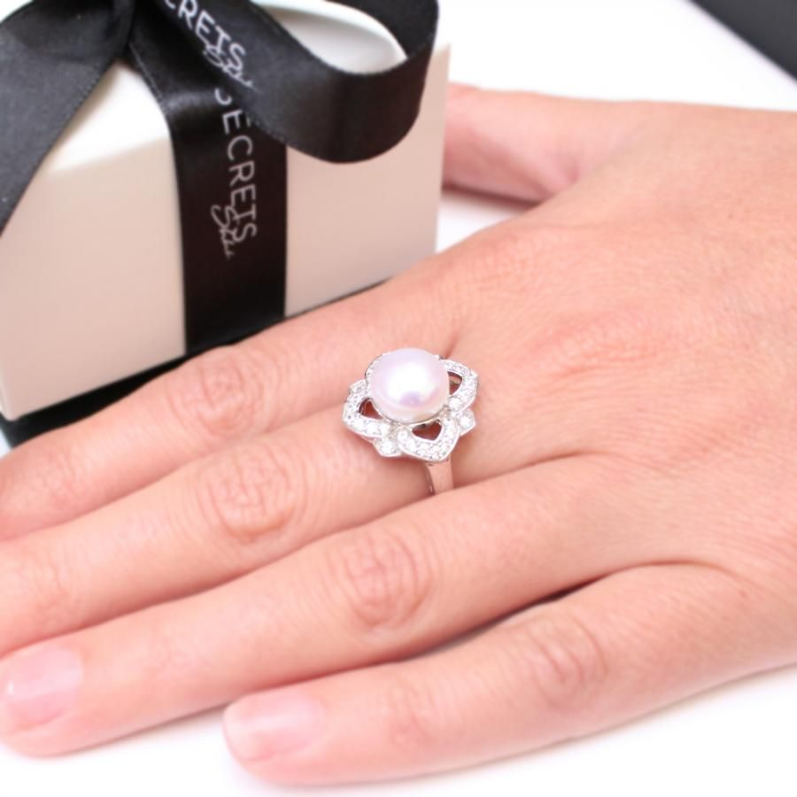 Cultured Freshwater Pearl Flower Ring | Secrets Shhh | P E A R L S ...
