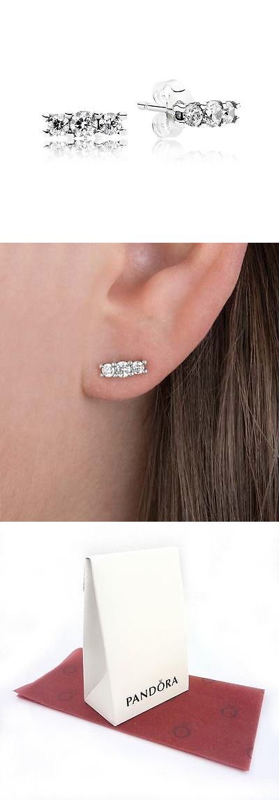 fe1c9736d Authentic Pandora Sparkling Elegance Clear Cz Stud Earrings #290725Cz $40  -> BUY IT NOW ONLY: $31.99 on eBay!