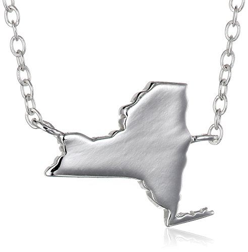 Sterling Silver Stationed Mini State New York Pendant Necklace