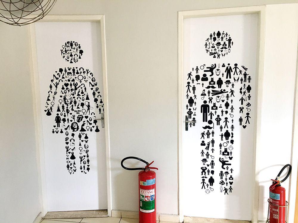 Adesivo Decorativo Para Porta De Banheiro Feminino E Masculino