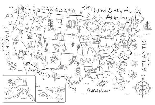 Map of the United States Embroidery Pattern by Theflossbox