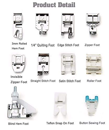 Juki Viking Kenmore New Home Bernette Series Brother Necchi Janome Euro-Pro YOFAN Snap on Buttonhole Foot for Low Shank Snap-On Singer Bernina Husky Series Babylock Elna and More White