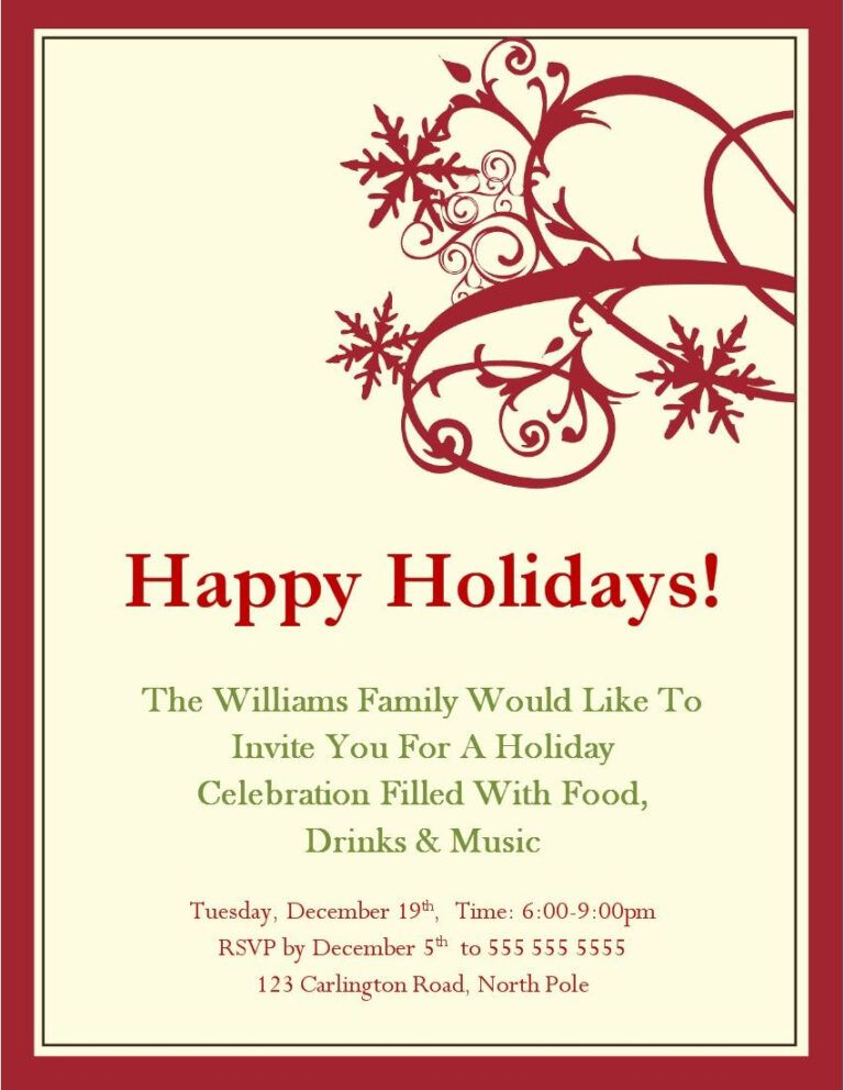 Christmas Party Invitations Templates Microsoft Christmas For Free Christmas Party Invitation Template Christmas Party Invitations Free Party Invite Template