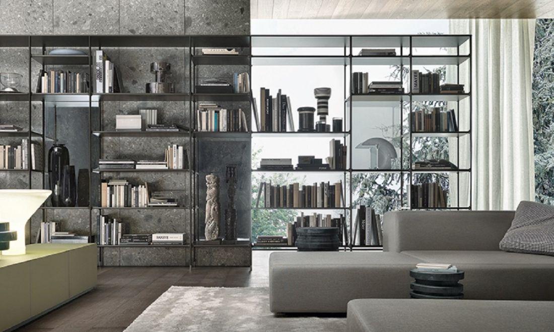 Rimadesio wind boekenkast met als uitgangspunt aluminium welke de