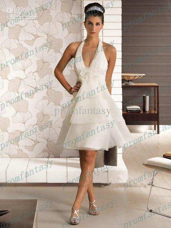 Wholesale 2013 Short Sexy Tiered Organza Ruffle A Line Beach Wedding Dresses Halter V
