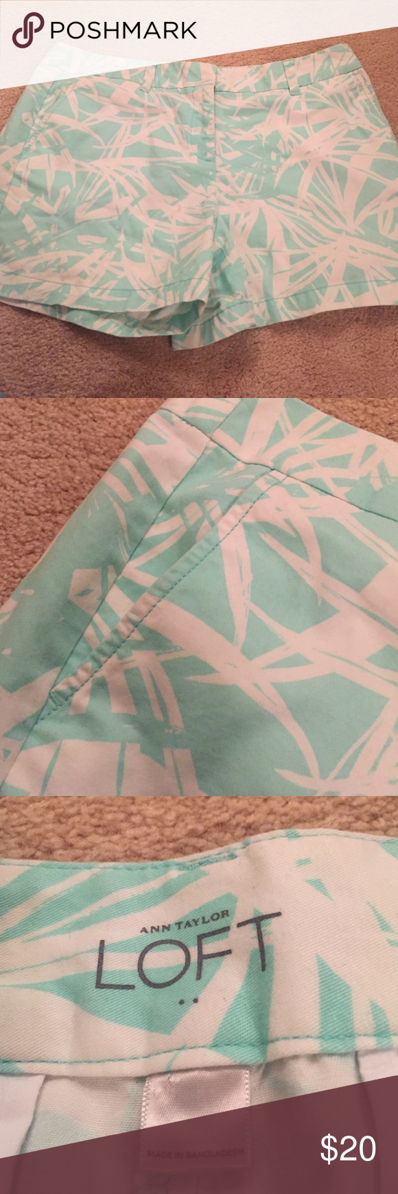 Loft aqua colored shorts These are SO cute and so comfy! Great condition LOFT Shorts