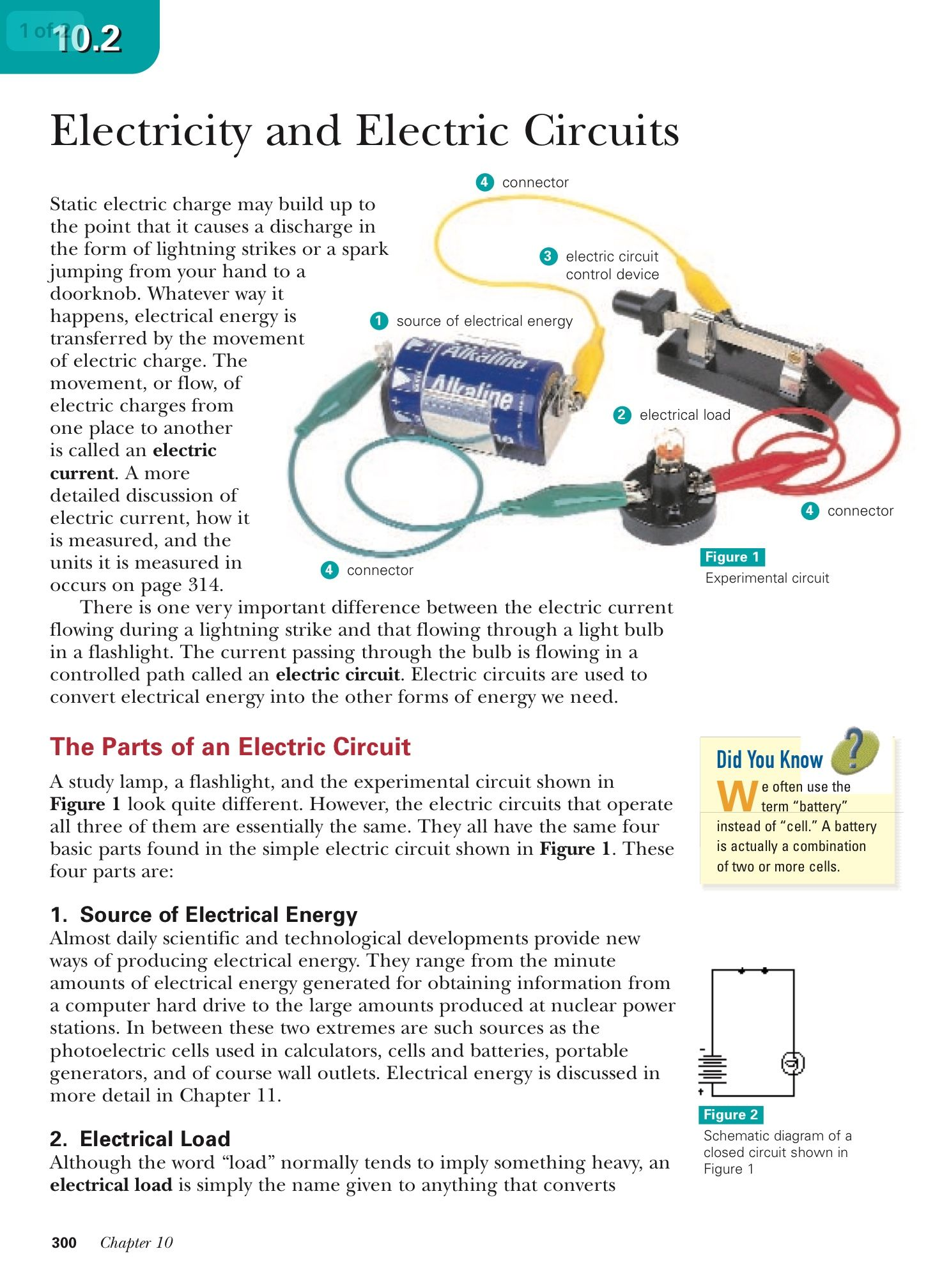 The Parts of an Electric Circuit - pages 300 - 301 - Reading ...