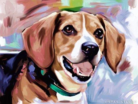 Amazon Com Beagle Dog Pet Art Portrait Poster Painting Painting