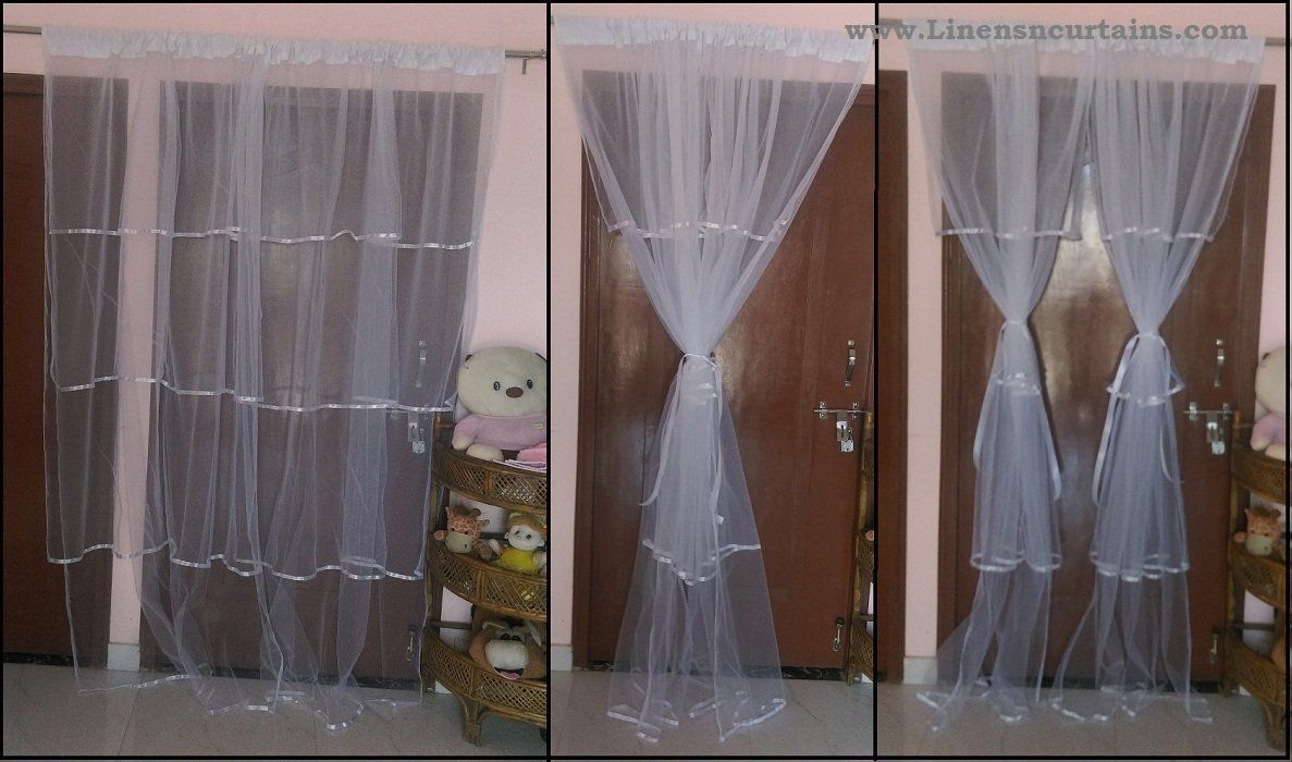 Chiffon Throw BlanketPair of Satin Tulle Curtains Pair of Layered