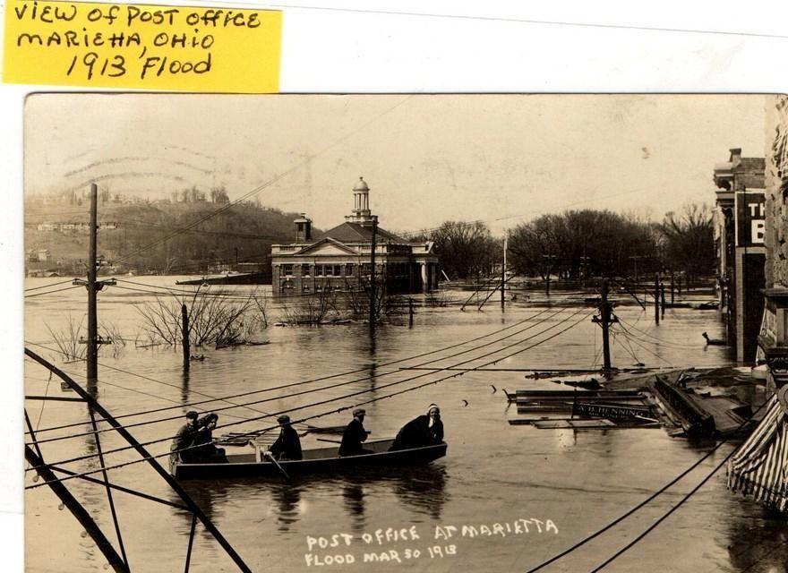 REAL PHOTO POSTCARD POST OFFICE  MARIETTA OHIO 1913 FLOOD NO 2