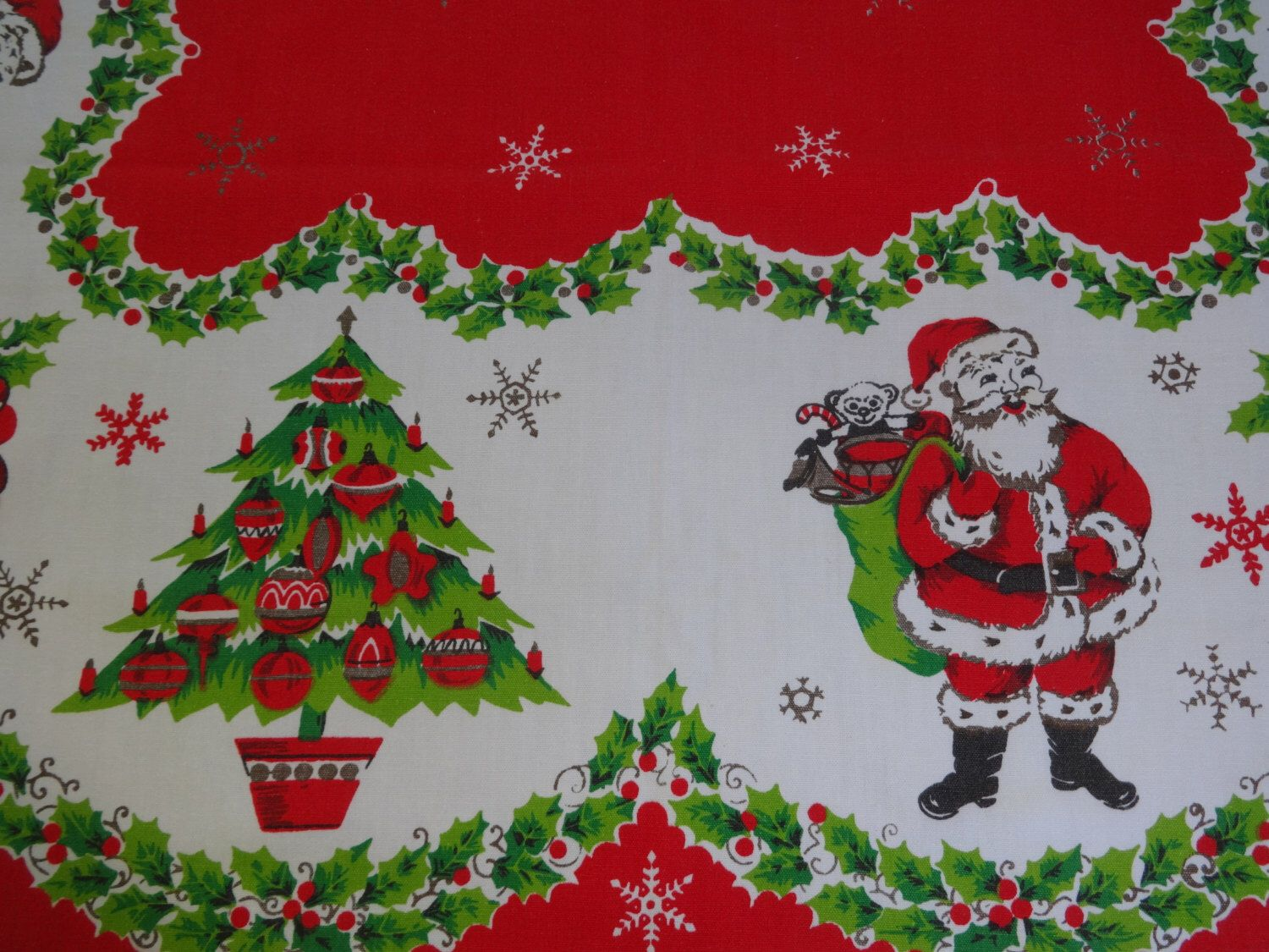Vintage Christmas Tablecloth with Santa Candy Canes Christmas Tree with Shiny Brites Ornaments Atomic Snowflakes by VintageyItems on Etsy https://www.etsy.com/listing/464873504/vintage-christmas-tablecloth-with-santa
