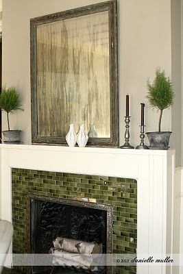 green tile fireplace tile surround