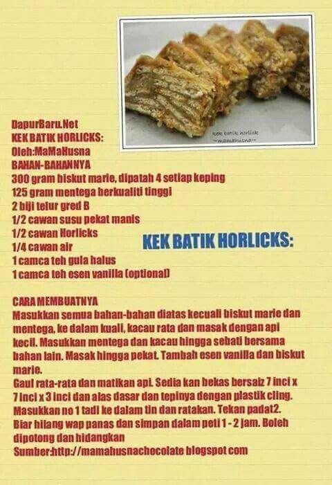 Mr Resepi Kek Batik Horlick Chewy 1strial Lengis Facebook