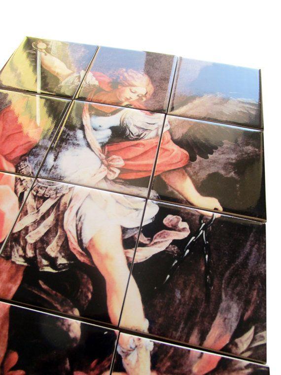 Religious wall art - tile art - Saint Michael the Archangel - 12 ceramic tiles ready to hang - religious art - christian art - St Michael