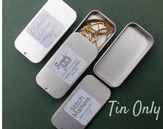 Small Tin Box  Sliding Lid Tin for Stitch by RebeccasRoomKnitting