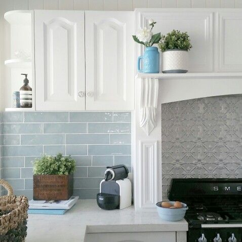 Kitchen with pressed metal and subway tile splashback and for Subway tile splashback