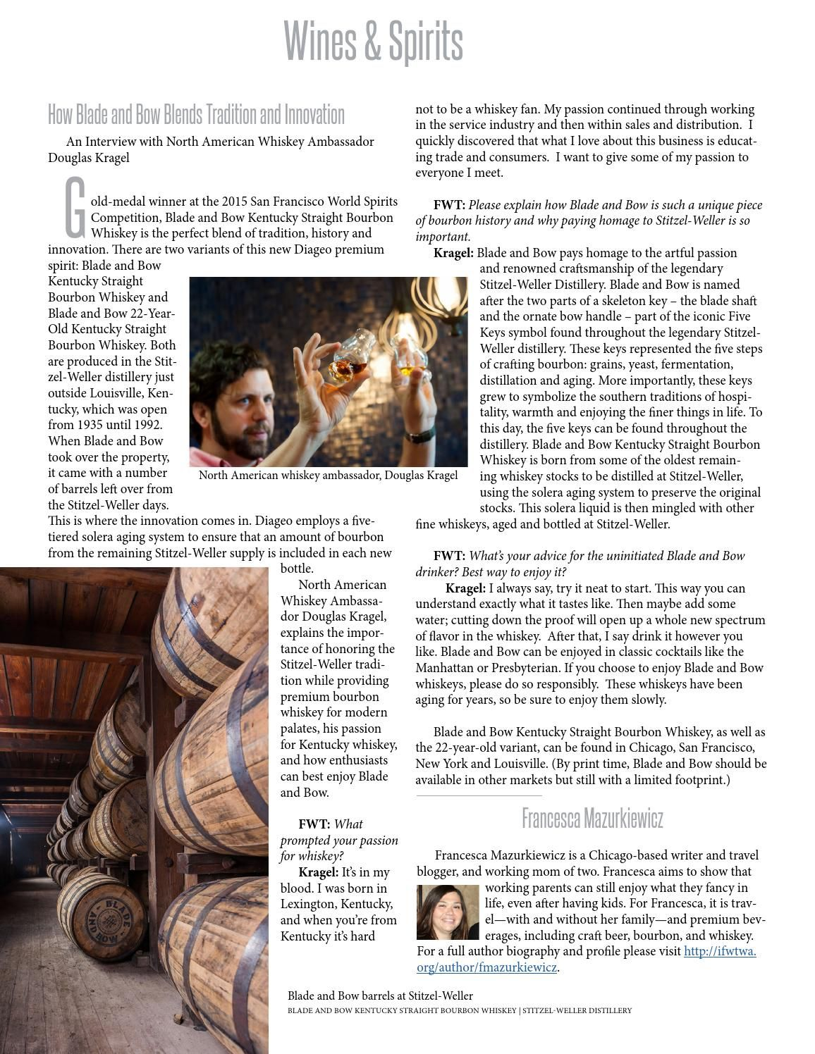My interview with North American Whiskey Ambassador, Doug Kragel, for FWT Magazine