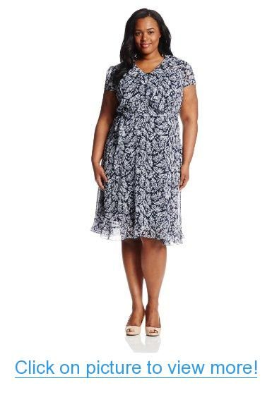 1830d24052 MSK Women s Plus-Size Short Sleeve Faux Wrap Dress