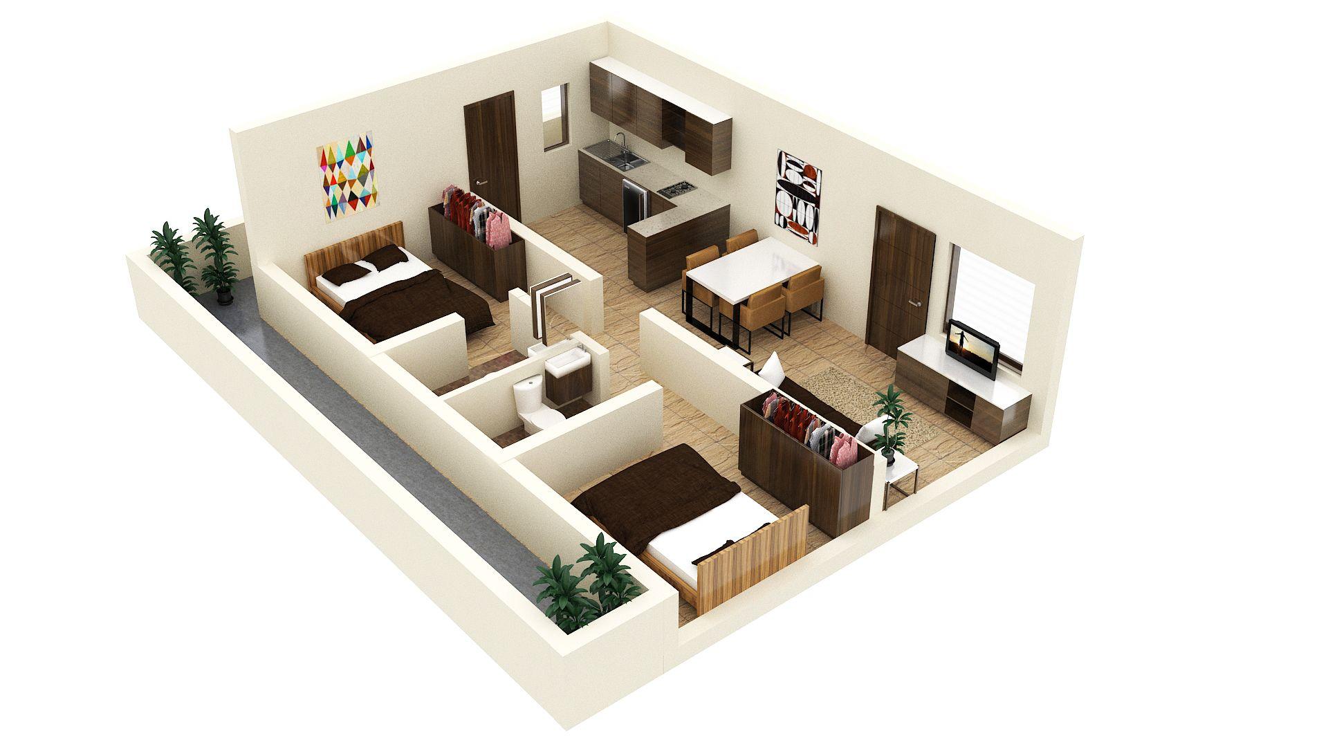 Two Bed Studio Apartment Floor Plan Idea Tiny House Design