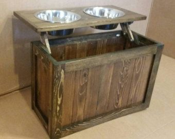 Raised Dog Feeder With Storage Elevated By Lilbitrustic