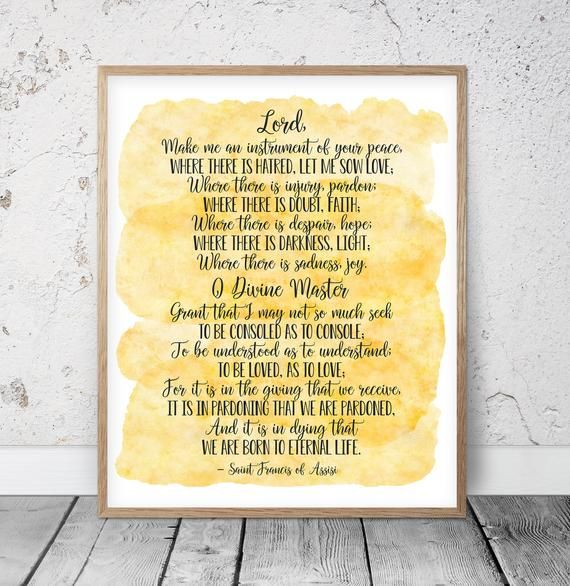 Lord Make Me An Instrument Of Your Peace Saint Francis Of Etsy Prayer For Peace Saint Francis Prayer Prayer Wall