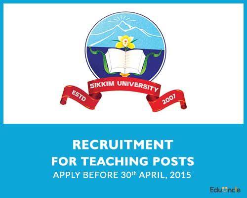 Sikkim University Teachers Recruitment | Apply before 30th April.