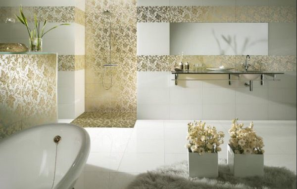 Perfect Fashionable White Gold Modern Bathroom With Ceramic In Decorative