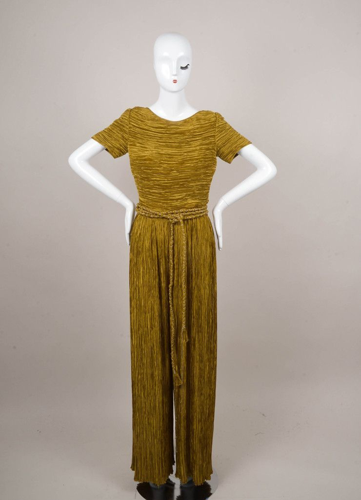 Gold Pleated Wide Leg Short Sleeve Belted Jumpsuit
