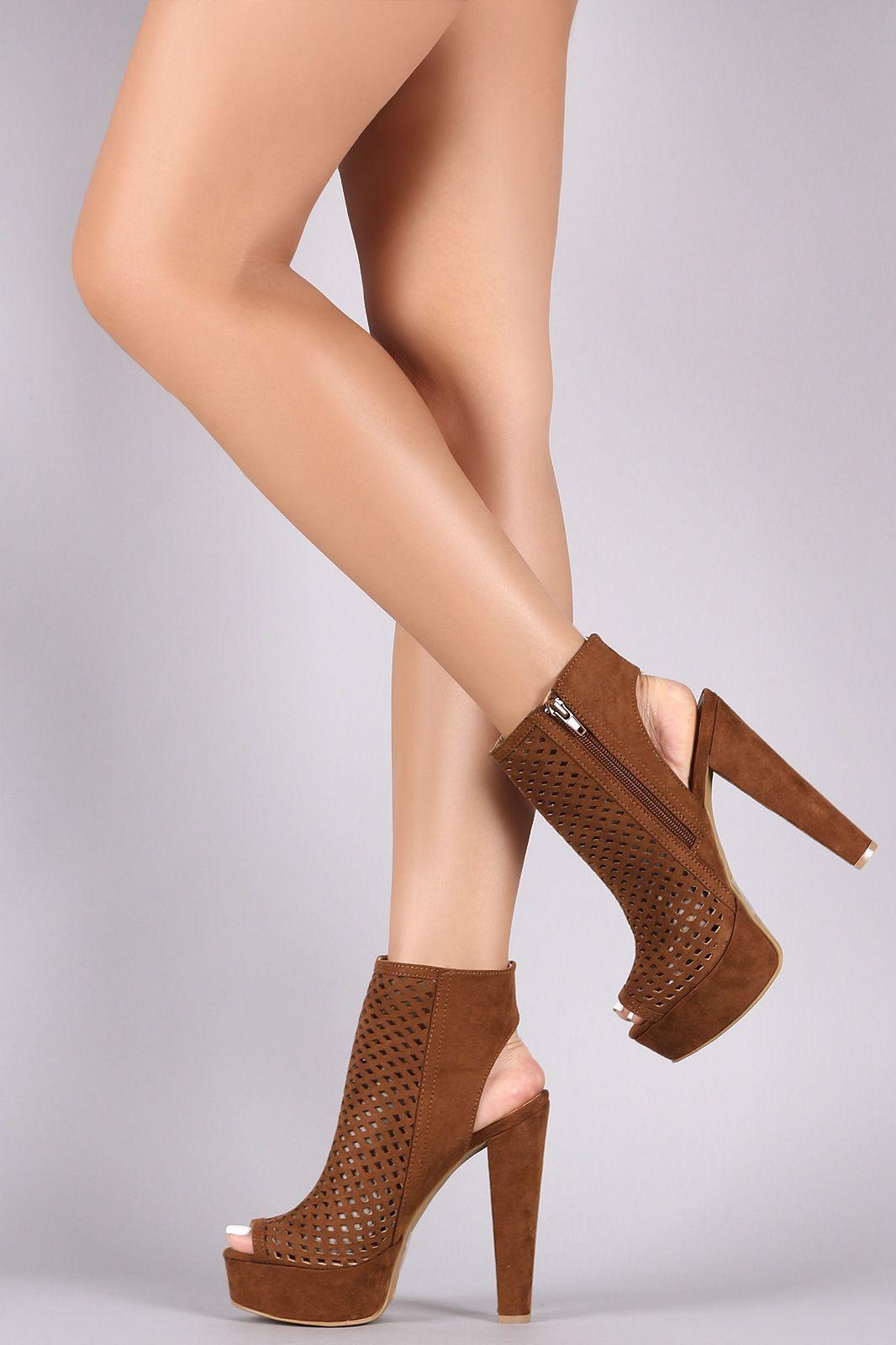 326c1d941 Shop Perforated Suede Peep Toe Chunky Platform Heel Booties featuring a peep  toe