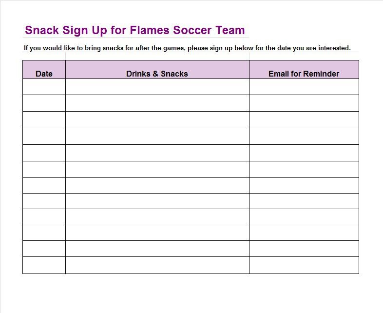 SignUp Sheet Template   Soccer Snack    Template
