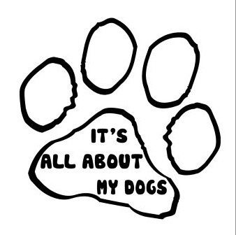 It's All About My Dogs Paw Print - Vinyl Sticker Decal Wall Art Decor - Black