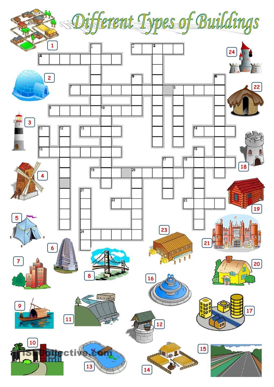 Buildings Crossword Rutinas En Ingles Ejercicios De Ingles Educacion [ 1440 x 1018 Pixel ]