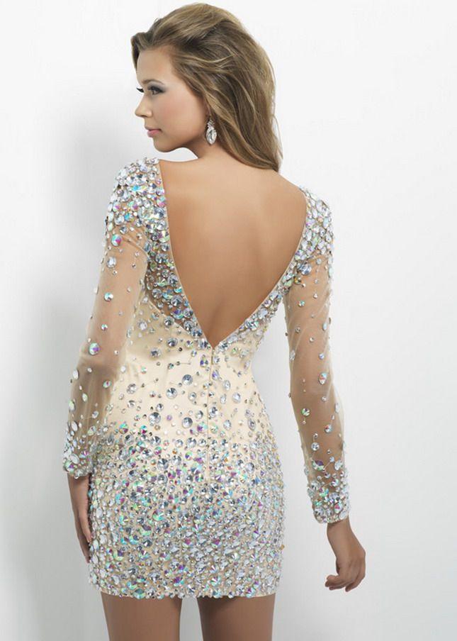 Sheer beaded long sleeve dress | club nights | Pinterest | Sleeved ...