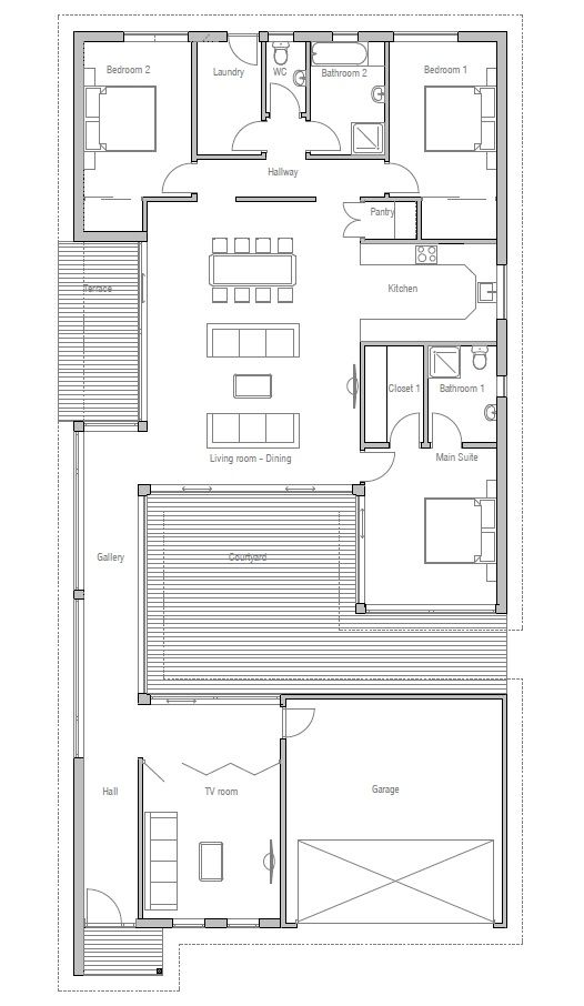 Modern House Oz110 Courtyard House Plans House Floor Plans Narrow Lot House
