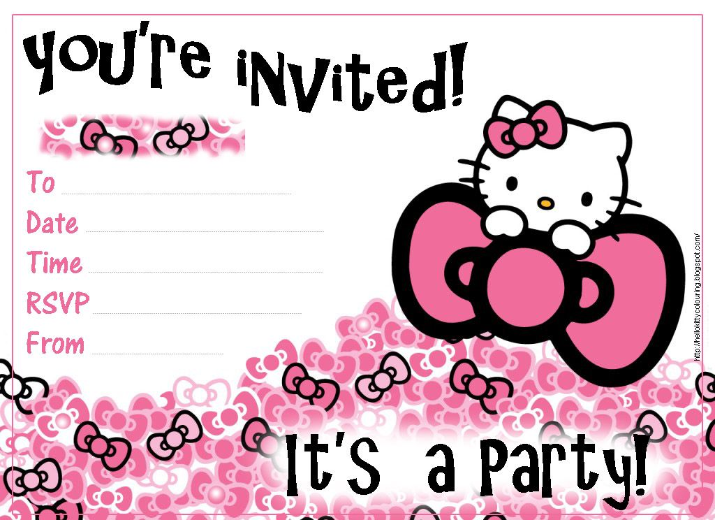 Hello Kitty Party Invitations Free Download Blank To Print