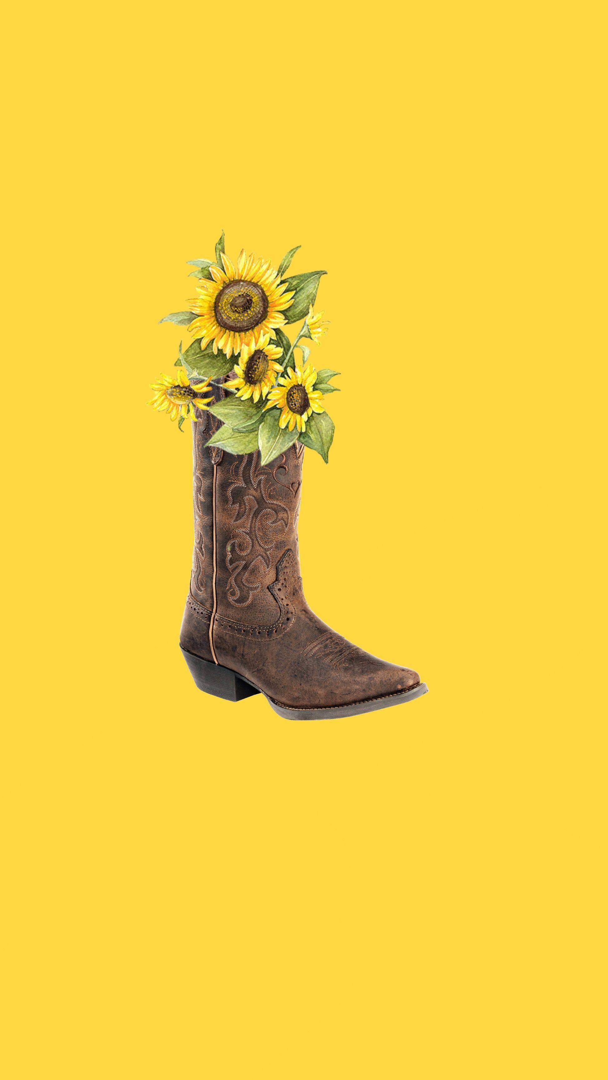 Cowgirl sunflower boots iPhone wallpaper sunflowerwallpaper