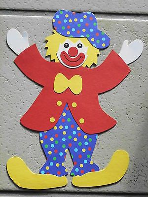 Fensterbild Tonkarton Karneval Fasching Clown Poldi Punkte