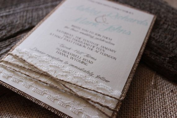 Rustic Elegant Burlap Wedding Invitation with by CCPrintsbyTabitha