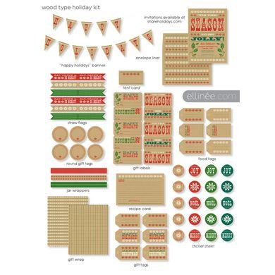 Wood Type FREE Holiday Printable Kit via  @ellinee