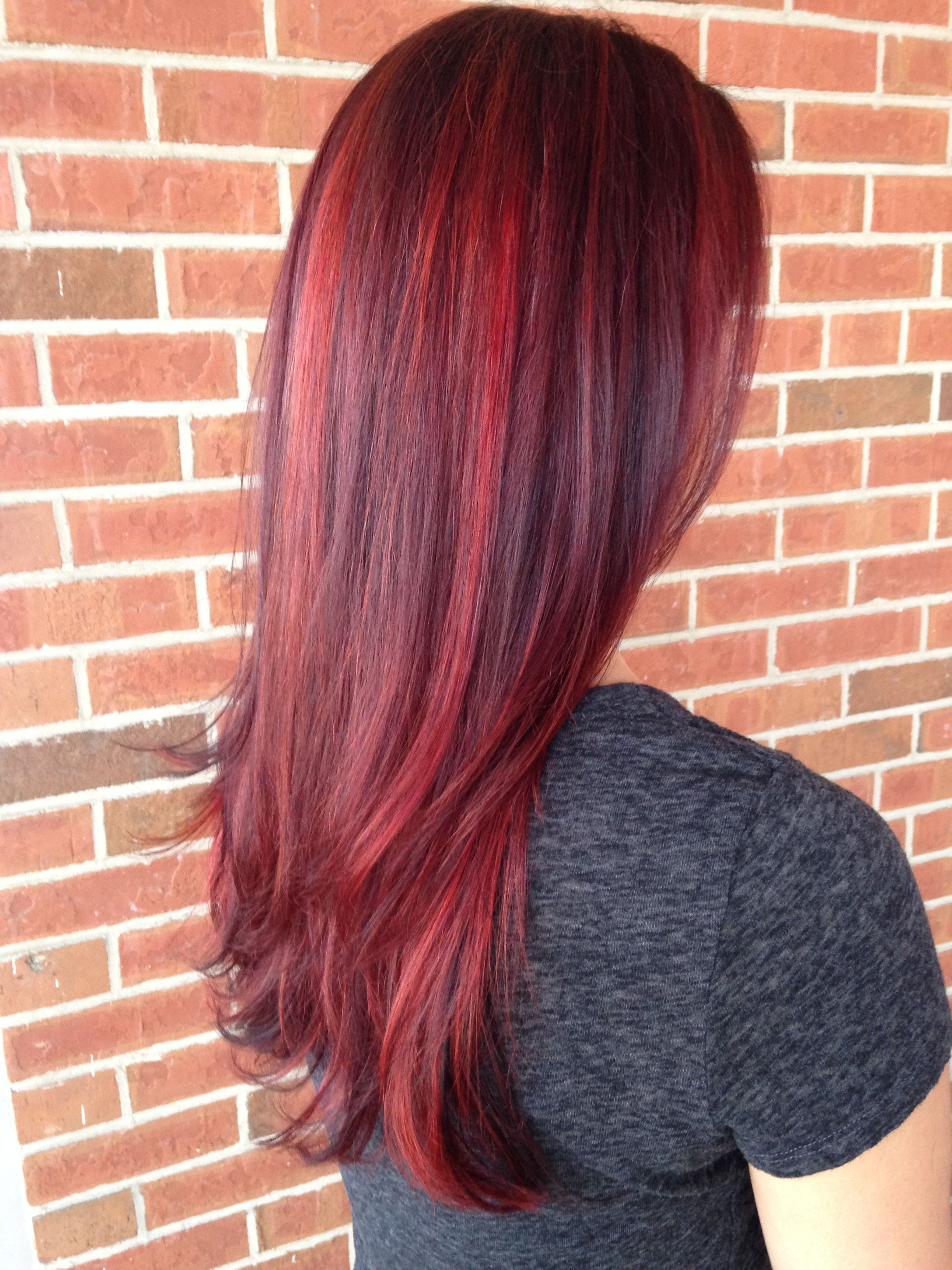 Red Balayage highlight with violet lowlights # ...