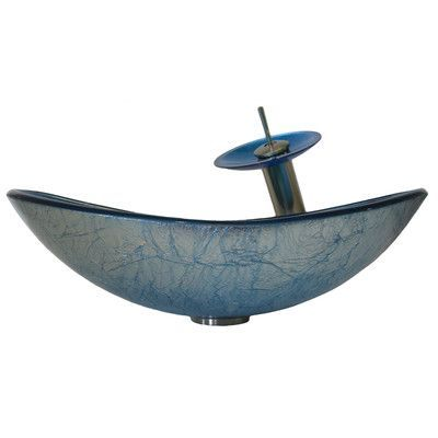 Novatto Azzurro Glass Vessel Bathroom Sink Set Faucet Finish: