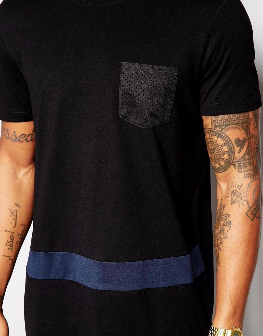 Black t shirt in bulk - 2016 Pocket Blue Striped Black T Shirt Wholesale Extended Long Tshirt Homme Men Hip Hop